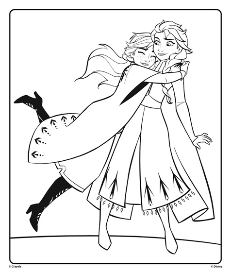 coloring sheets elsa and anna anna and elsa from disney frozen 2 hugging coloring page sheets coloring elsa anna and