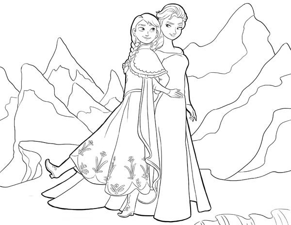 coloring sheets elsa and anna anna and elsa standing side by side coloring page sheets coloring elsa anna and