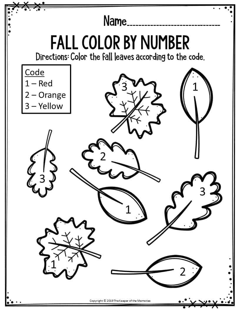 coloring sheets kindergarten fall preschool worksheets fall color by number leaves the coloring fall sheets kindergarten