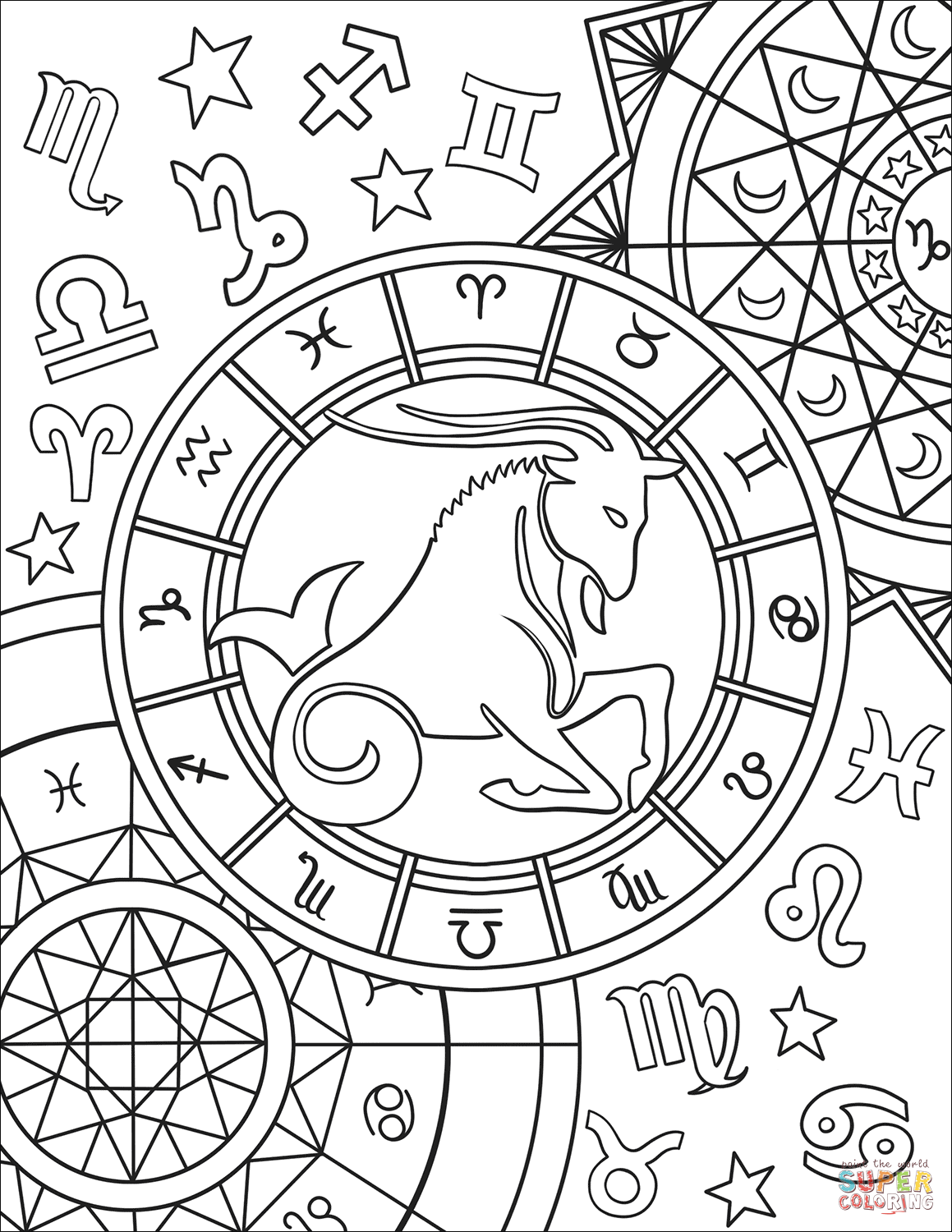 coloring sign capricorn zodiac sign coloring page free printable sign coloring