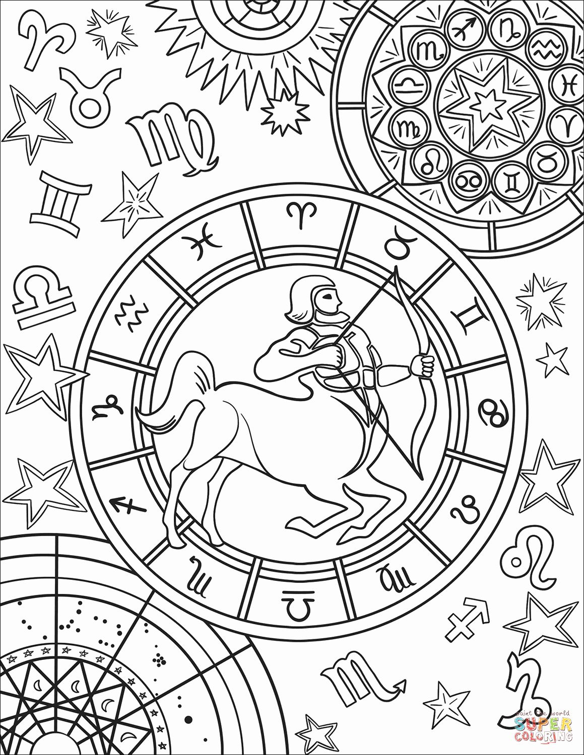 coloring sign history coloring pages printable elegant sagittarius sign coloring