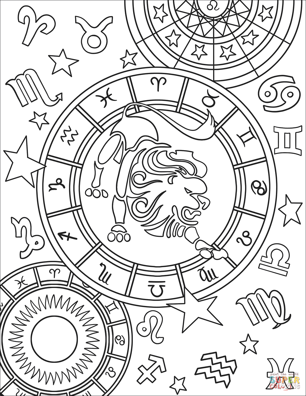 coloring sign horoscope coloring pages at getcoloringscom free sign coloring