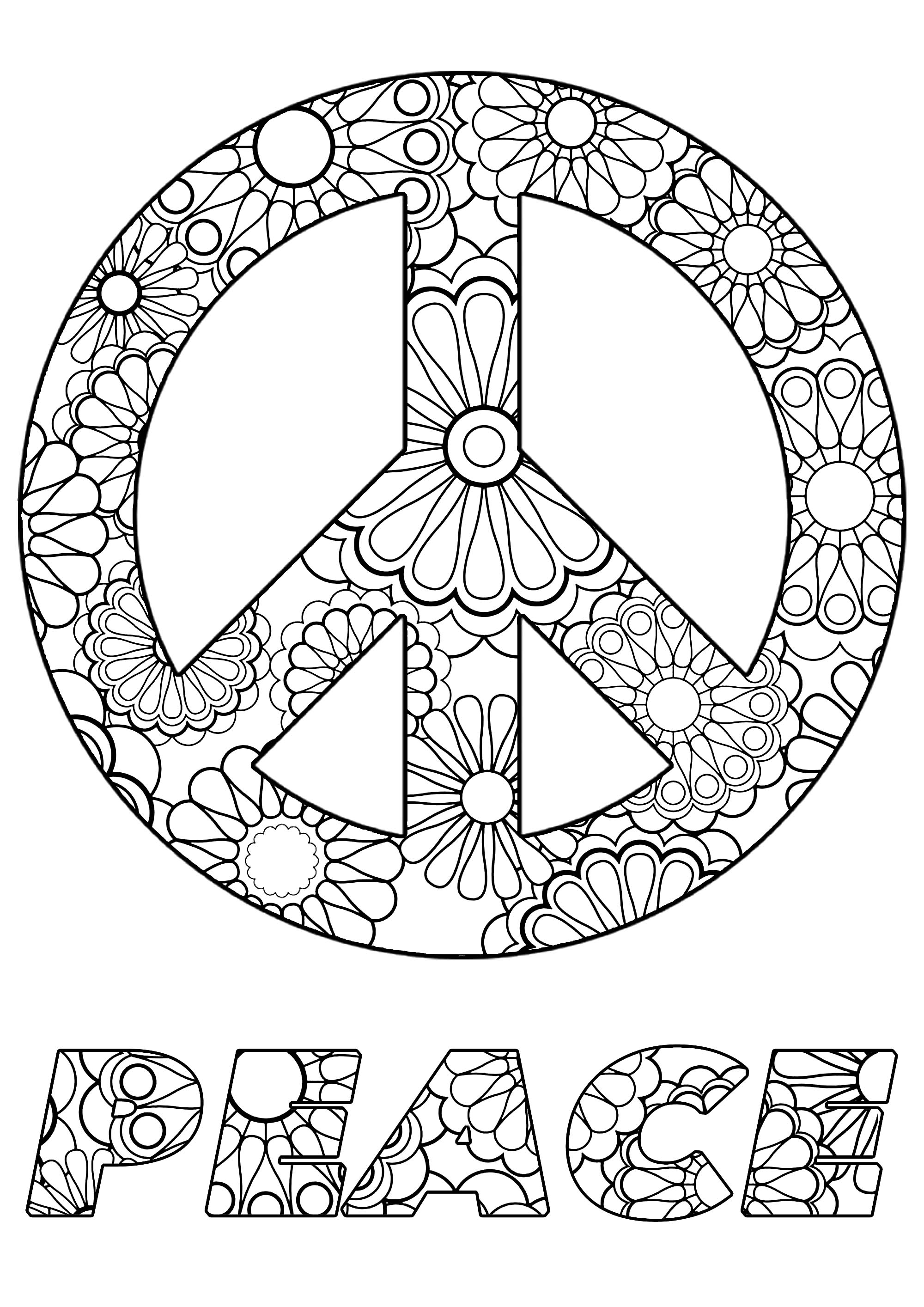 coloring sign peace symbol anti stress adult coloring pages coloring sign