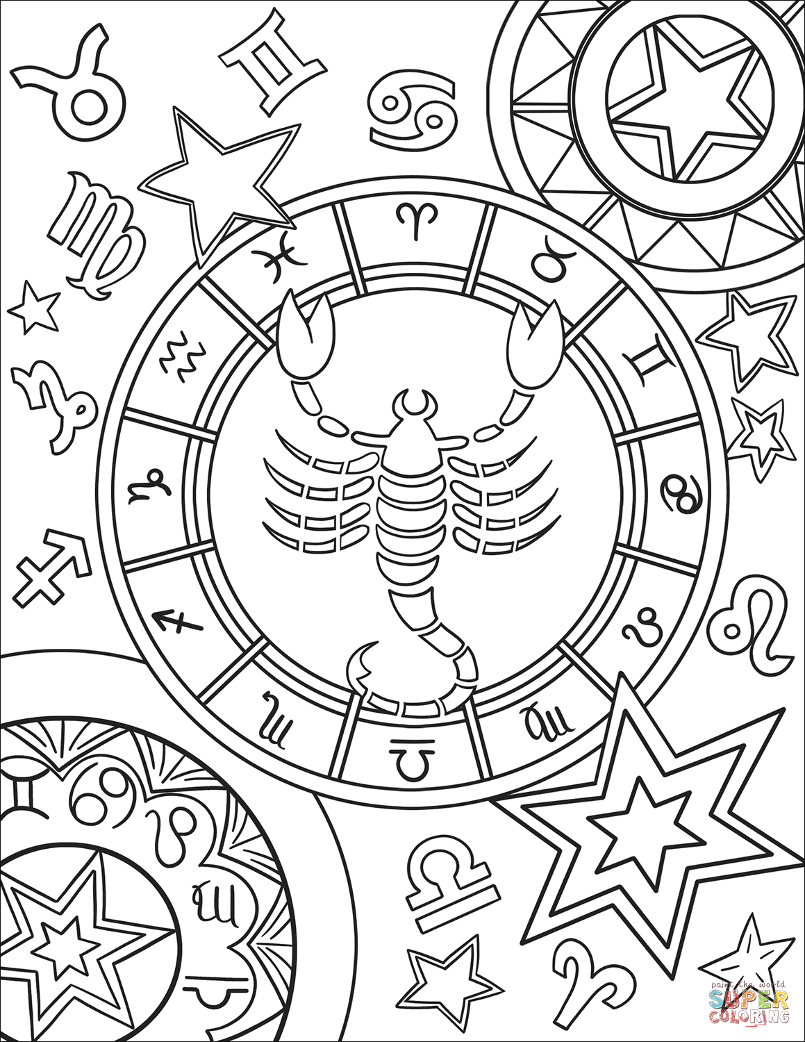 coloring sign zodiac signs coloring pages kidsuki sign coloring