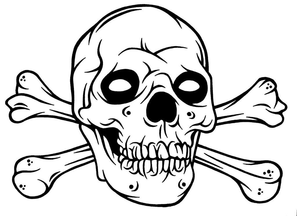 coloring skull bones skull and bones coloring pages clipart best bones skull coloring