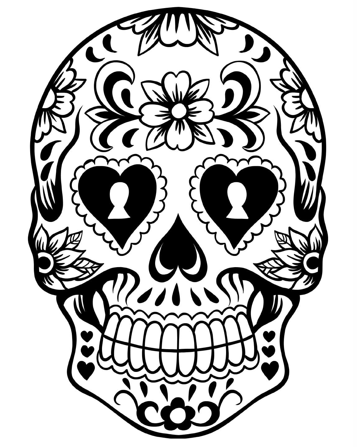 Coloring skull day of the dead