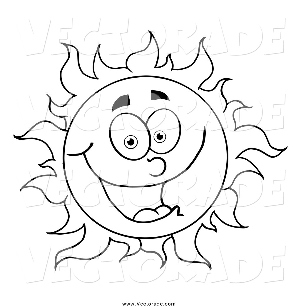 coloring sun clipart black and white cartoon sun stock vector colourbox coloring sun black clipart and white