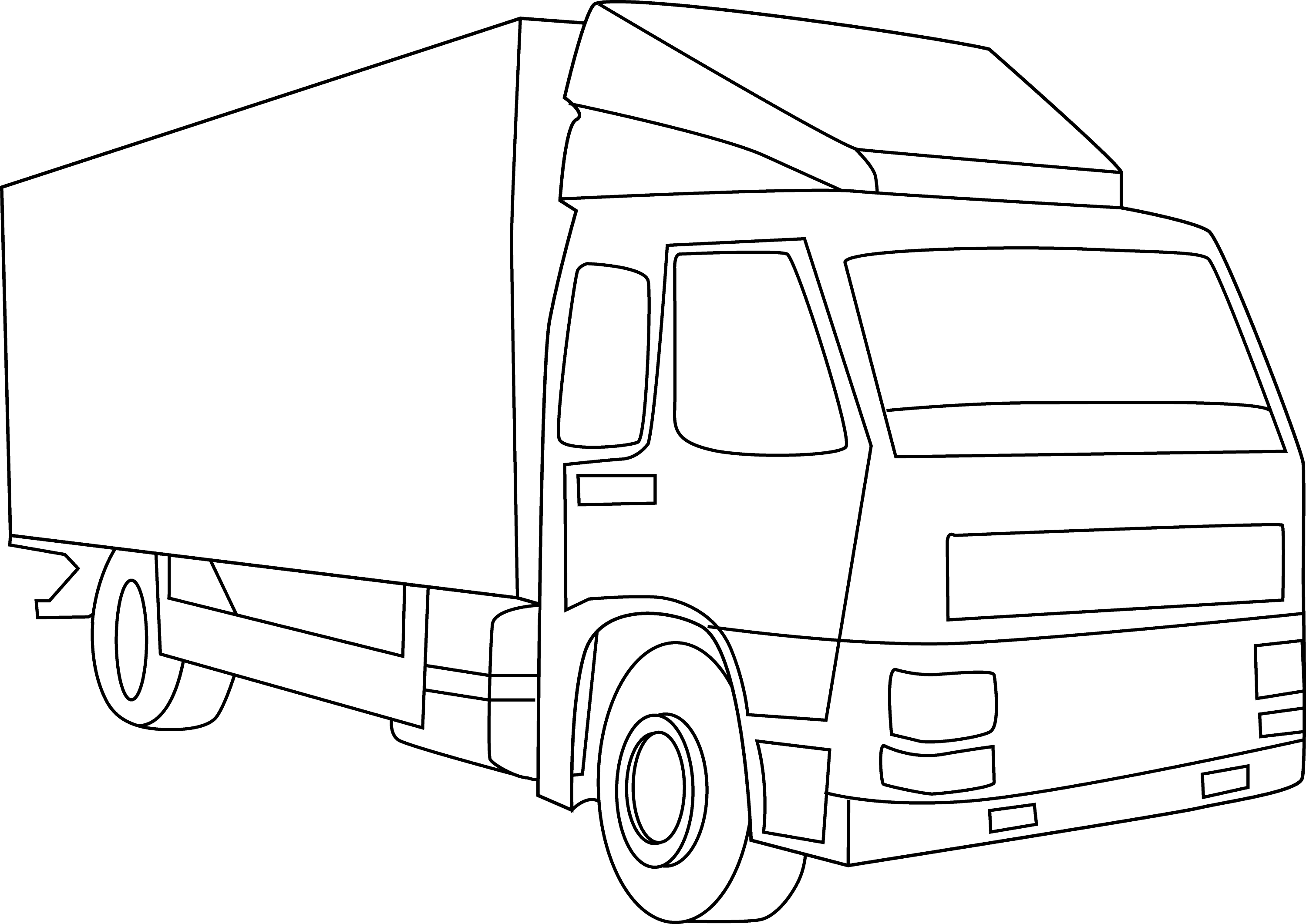 Coloring truck clipart black and white