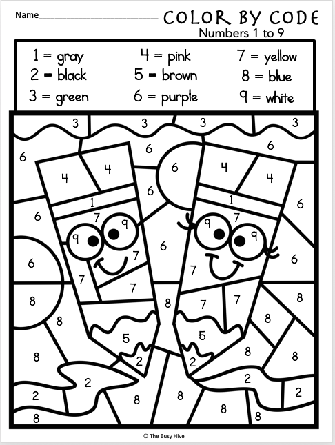 colouring by numbers worksheets color by code worksheets numbers 1 to 9 madebyteachers colouring numbers worksheets by