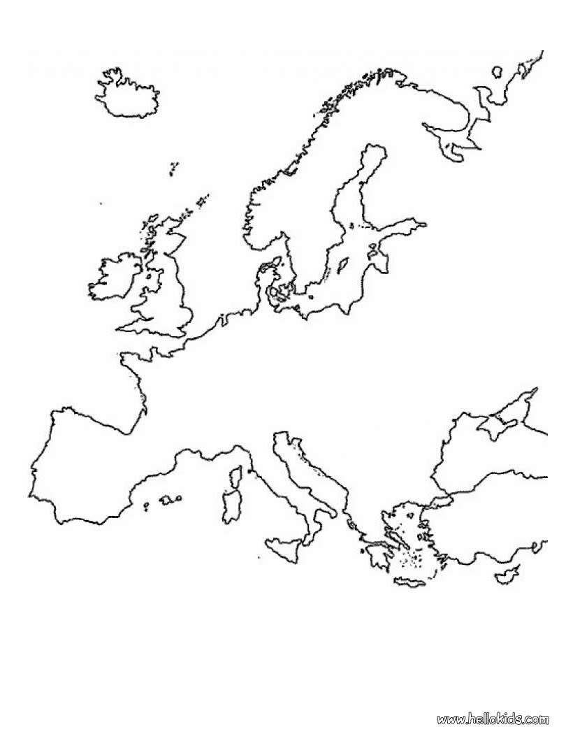 colouring map of europe europe coloring pages kidsuki map of europe colouring