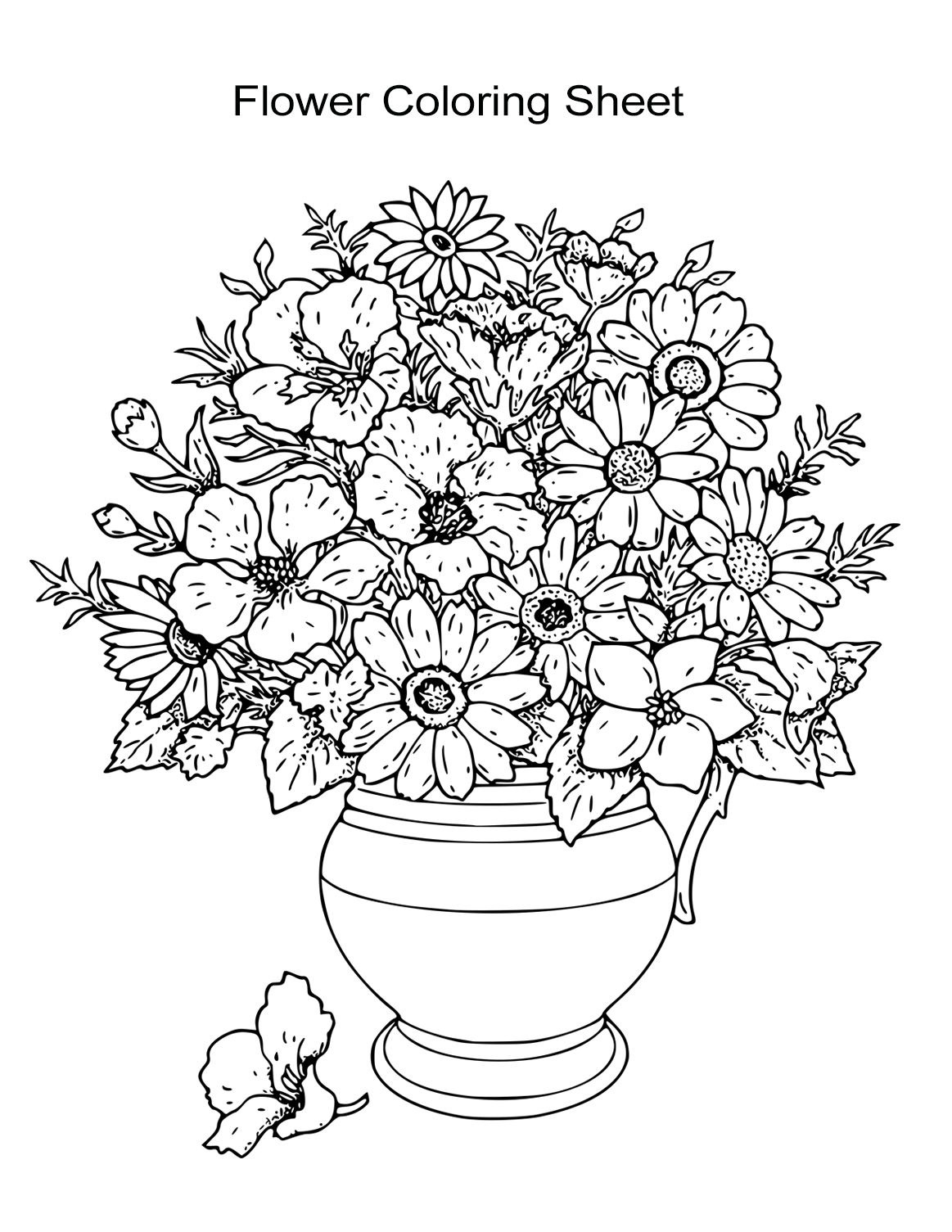 colouring page of flowers bouquet of flowers coloring pages for childrens printable flowers page colouring of