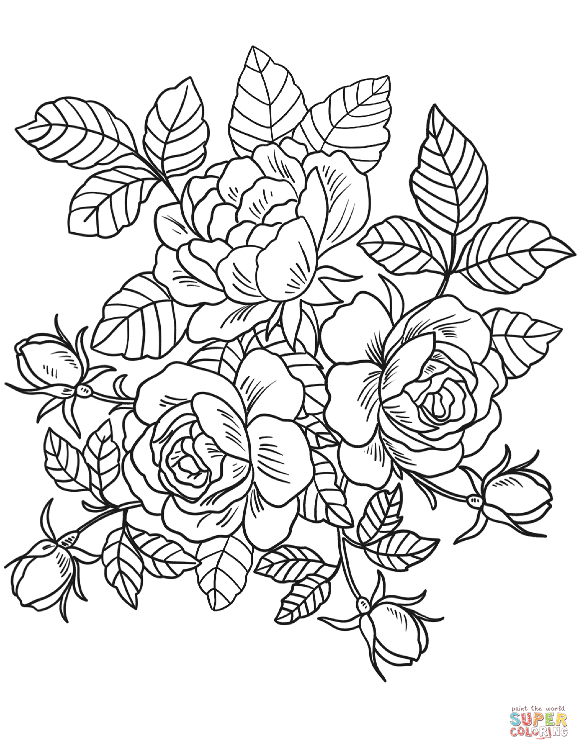 Colouring page of flowers