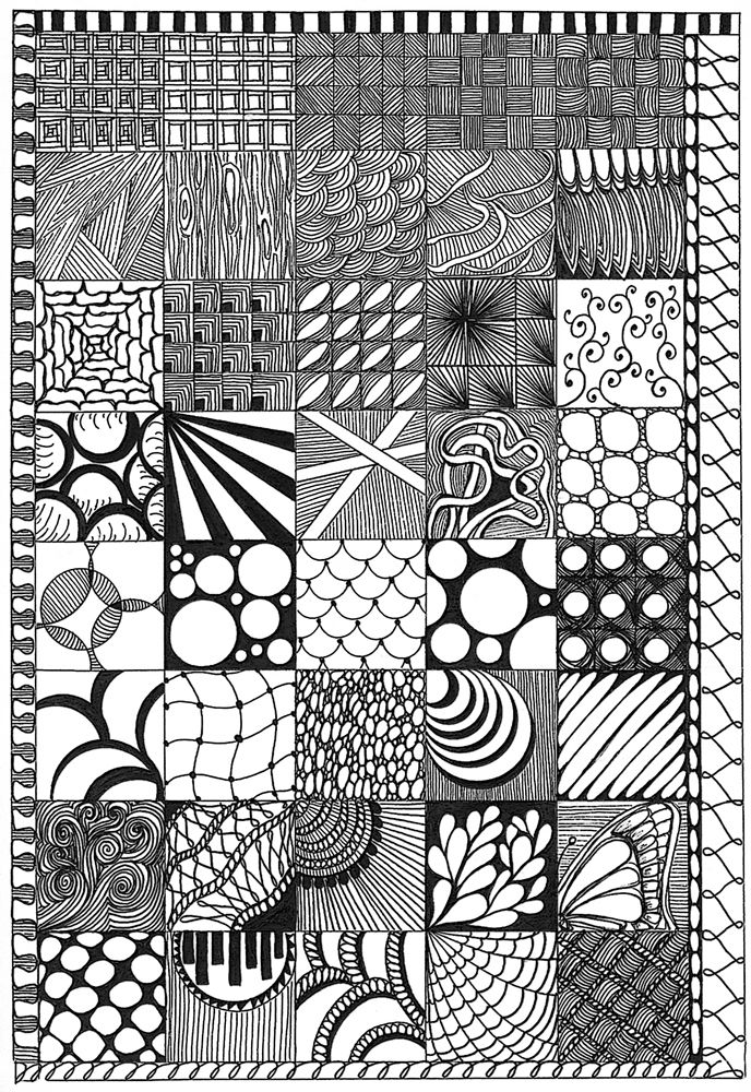 cool zentangles zoomed creative drawing ink pen details flower cool zentangles