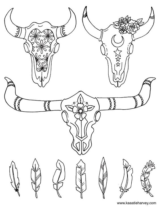 cow skull coloring pages buffalo skull with flowers and feathers skull coloring cow pages skull coloring