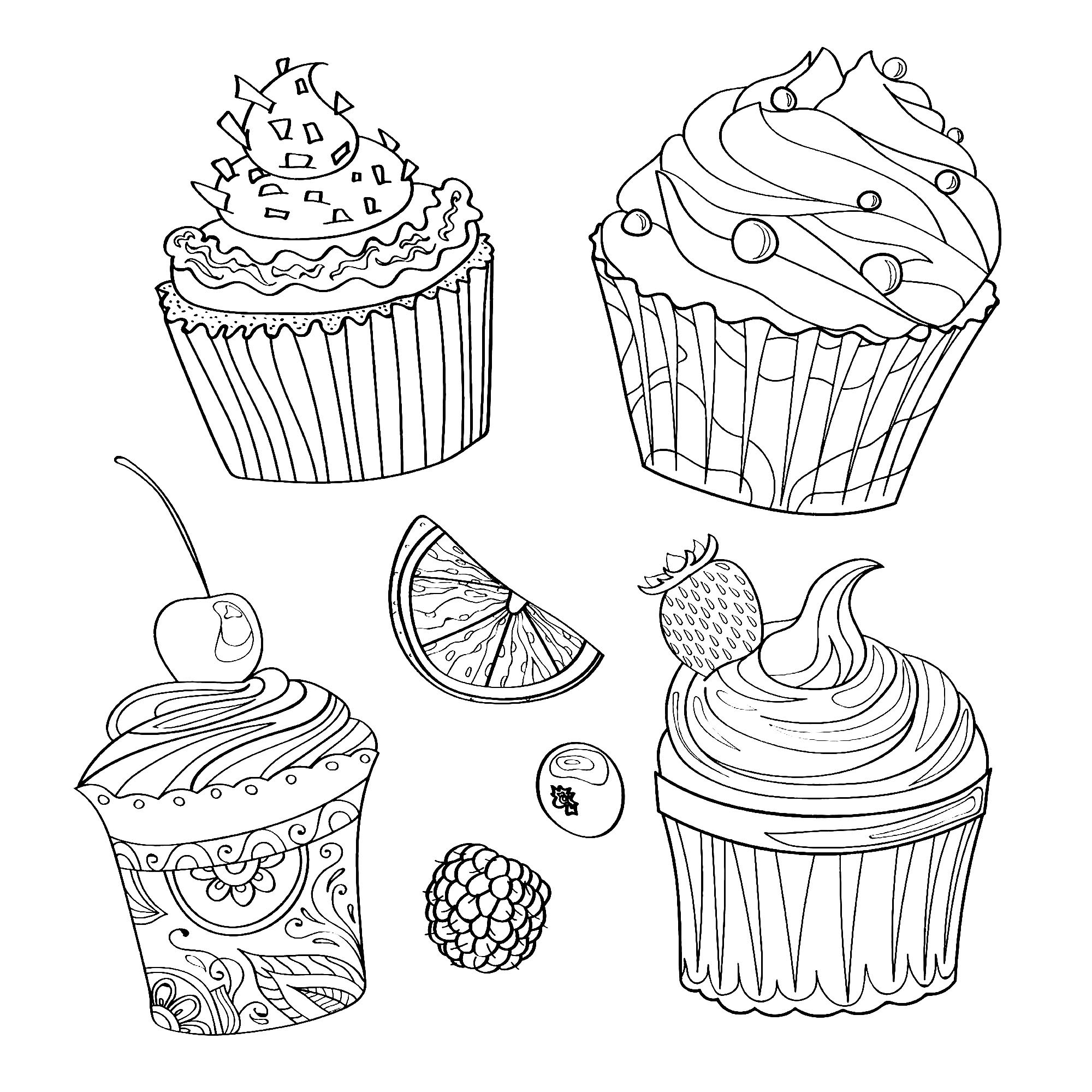 Cup cake coloring pictures