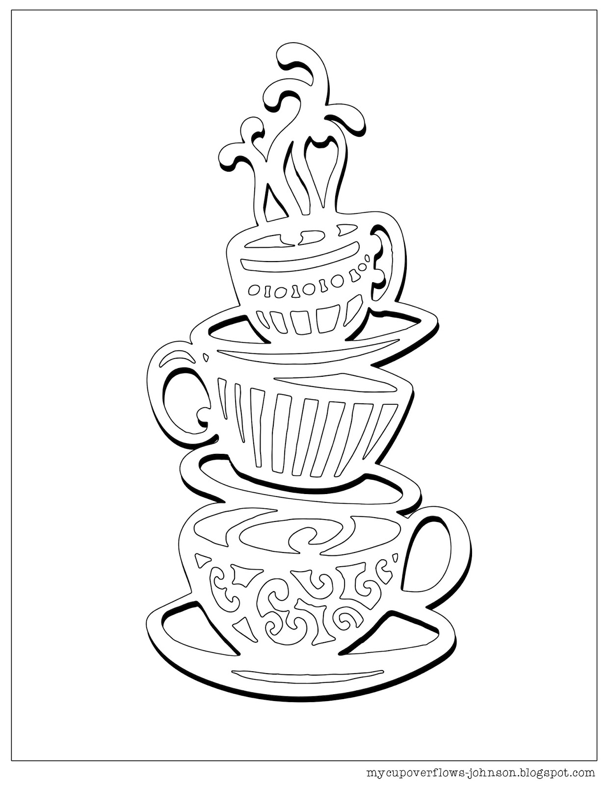cup coloring page my cup overflows tea and coffee cup coloring page