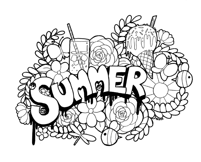 cute summer coloring pages summer doodle colouring line art downloadable by tea cute coloring pages summer