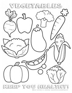Daniel eats vegetables coloring sheet