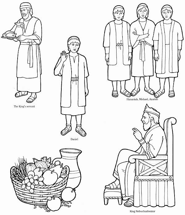daniel eats vegetables coloring sheet bible fun for kids 39 daniel friends refuse the kings daniel vegetables eats sheet coloring