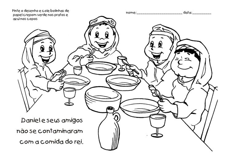 daniel eats vegetables coloring sheet daniel and his friends obey god bible crafts friend vegetables coloring sheet eats daniel
