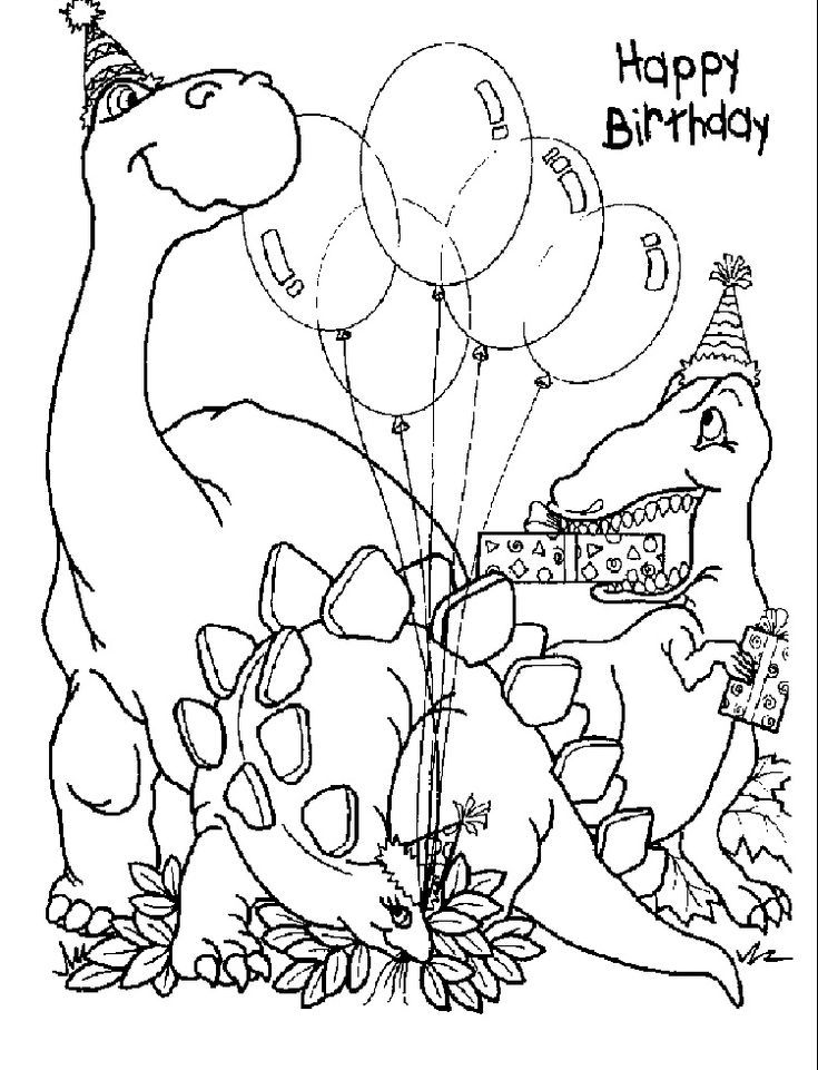 Dinosaur happy birthday coloring pages