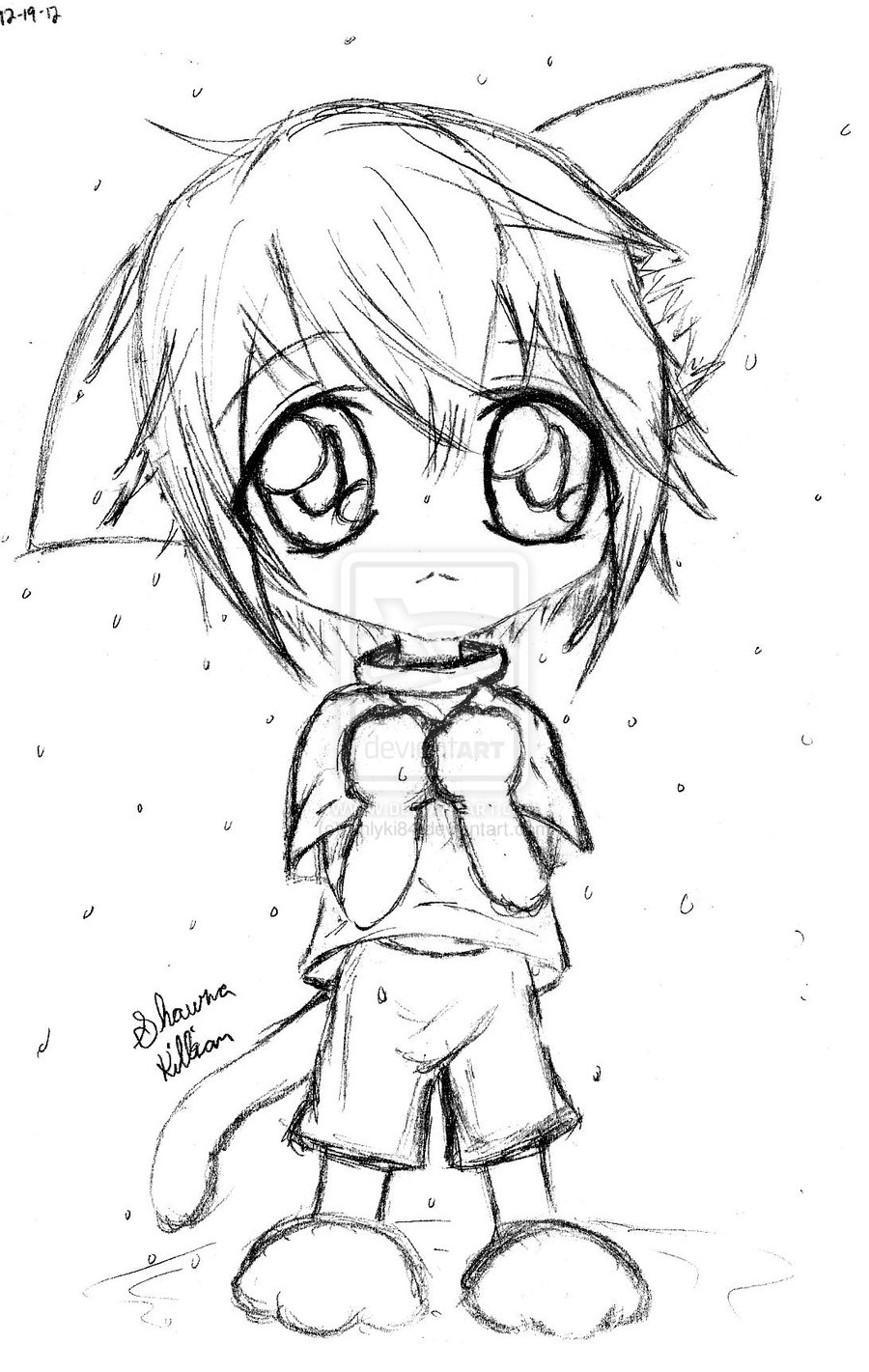 draw boy anime neko boy chibineko chibi boy in the rain by s by draw anime boy