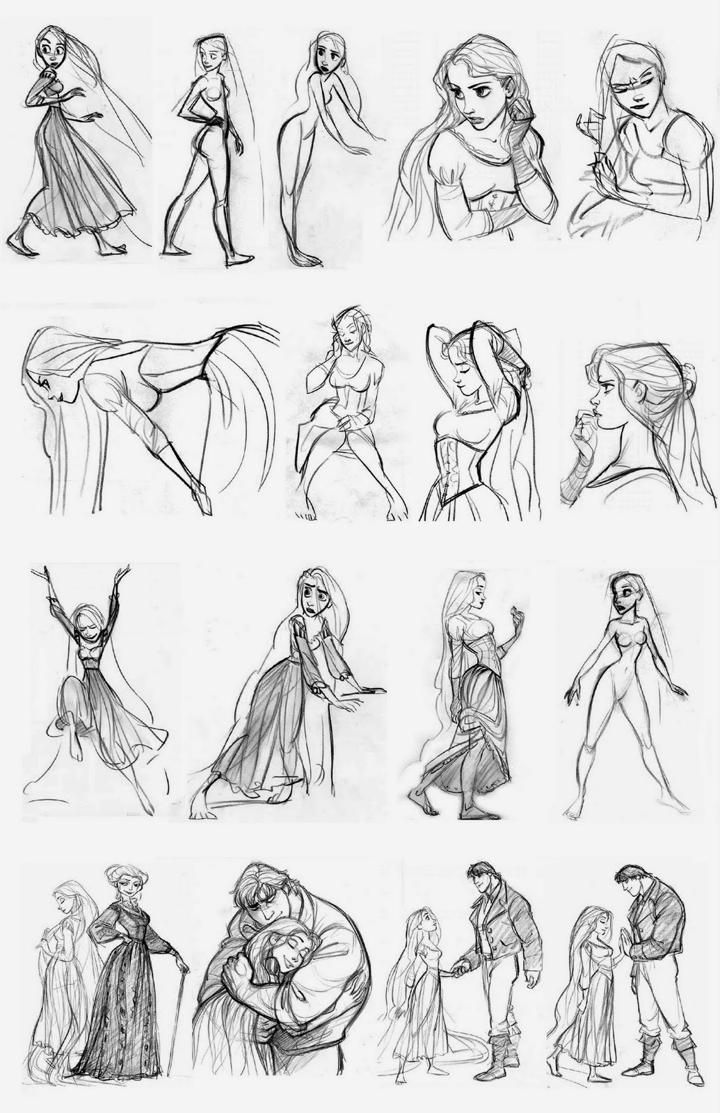 drawing of disney characters character and creature design notes disney39s quottangled characters of disney drawing