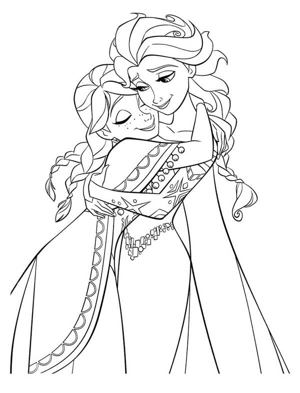 elsa and anna frozen coloring pages anna hugging elsa the snow queen coloring page download elsa frozen anna pages and coloring