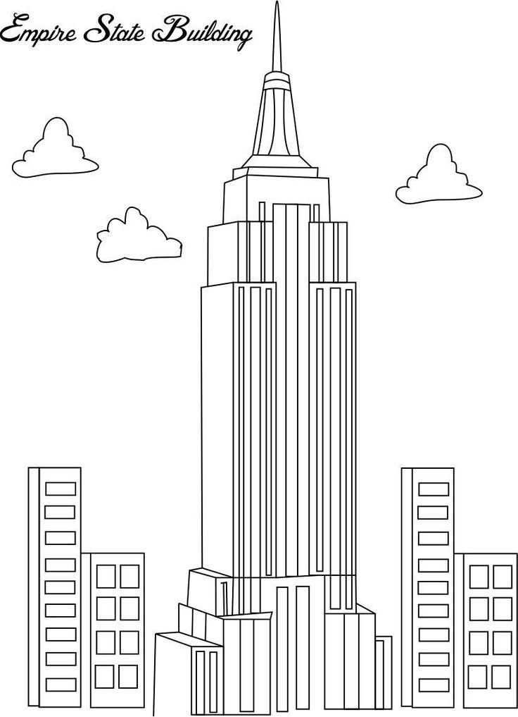 Empire state building coloring page