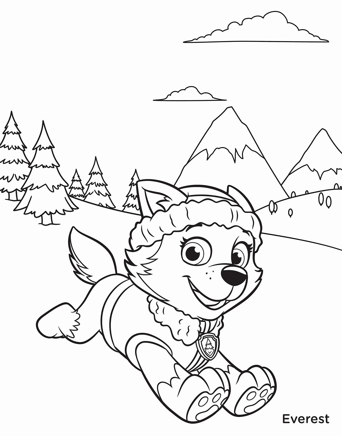 everest paw patrol coloring everest from paw patrol coloring page free coloring coloring paw patrol everest