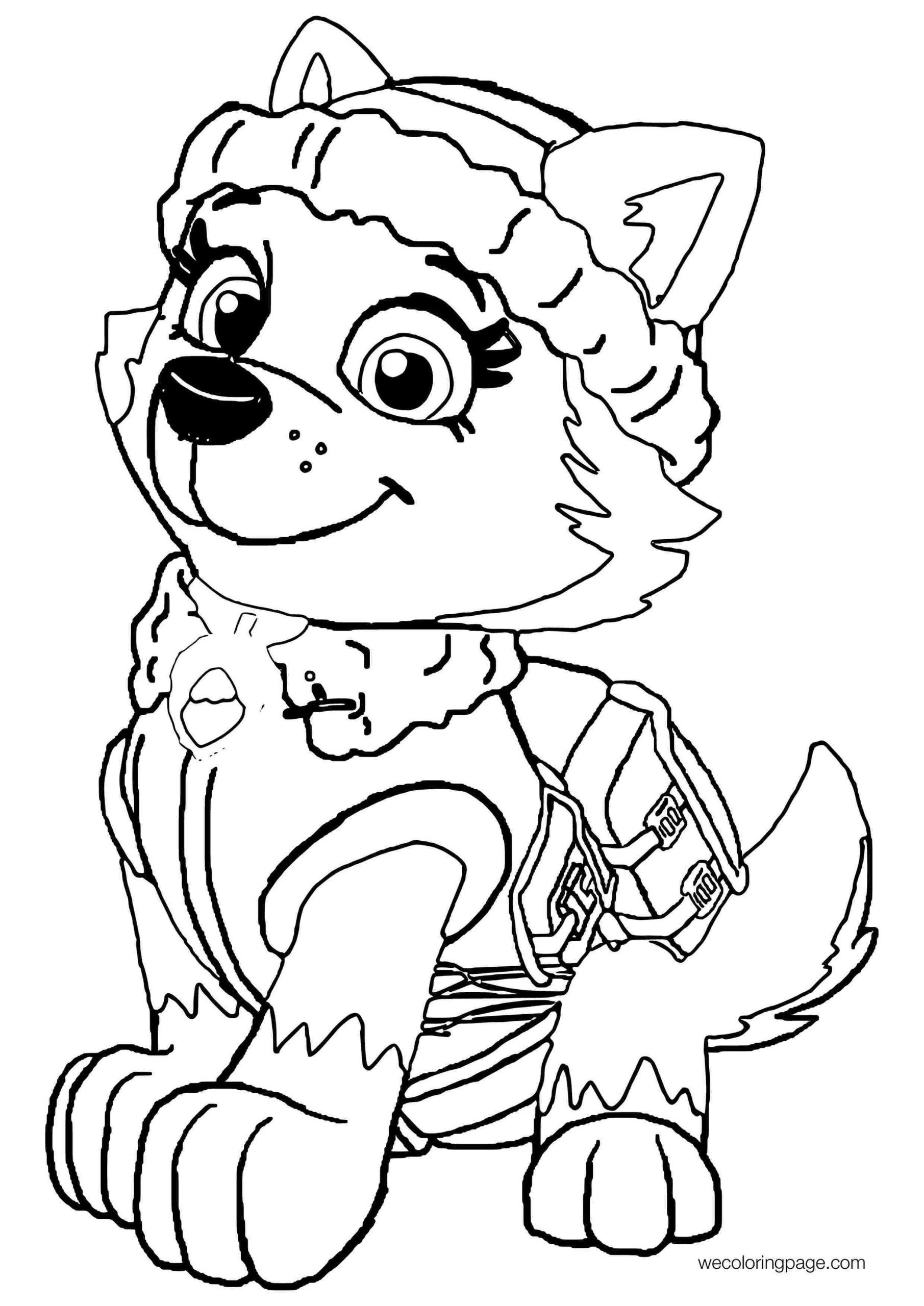 everest paw patrol coloring everest from paw patrol free colouring pages patrol paw coloring everest