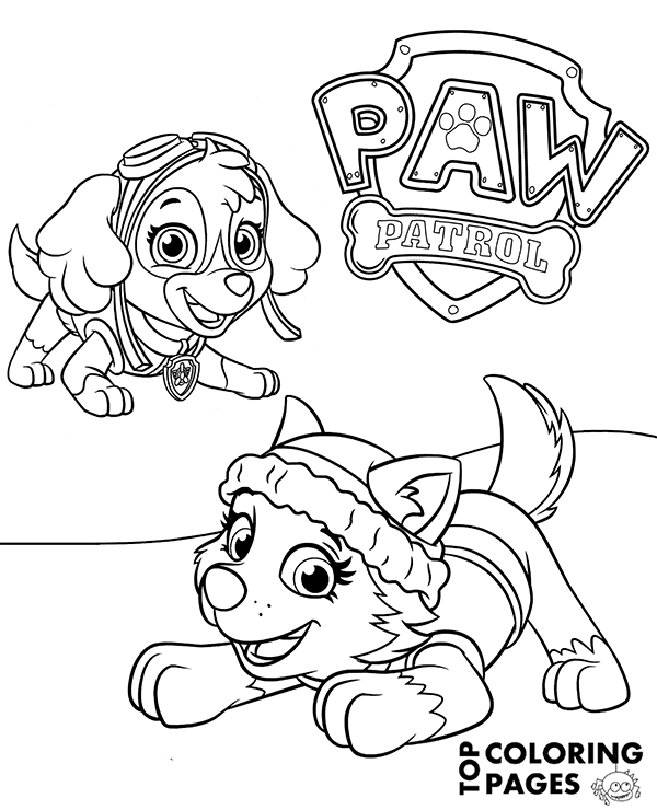 everest paw patrol coloring everest paw patrol coloring lesson kids coloring page everest patrol coloring paw