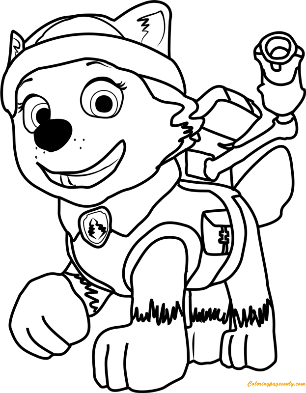 everest paw patrol coloring everest paw patrol coloring lesson kids coloring page everest patrol paw coloring