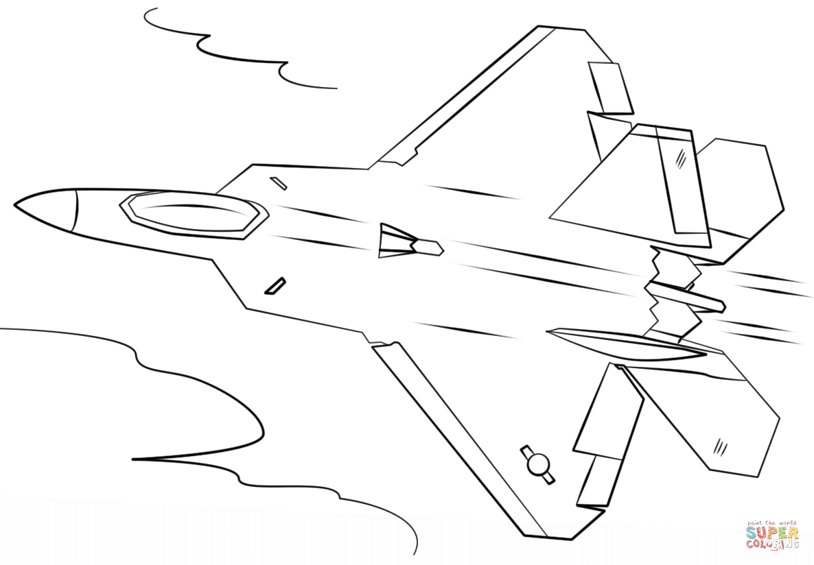 F 22 raptor coloring pages