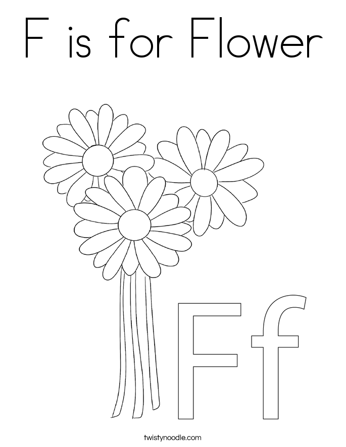f is for flower f coloring page flower coloring pages kids handwriting flower f is for