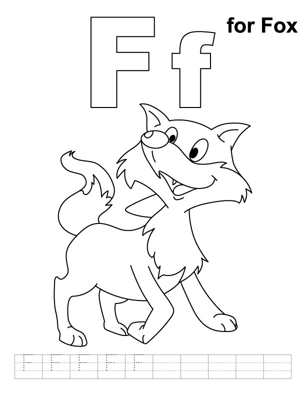 F is for fox coloring page