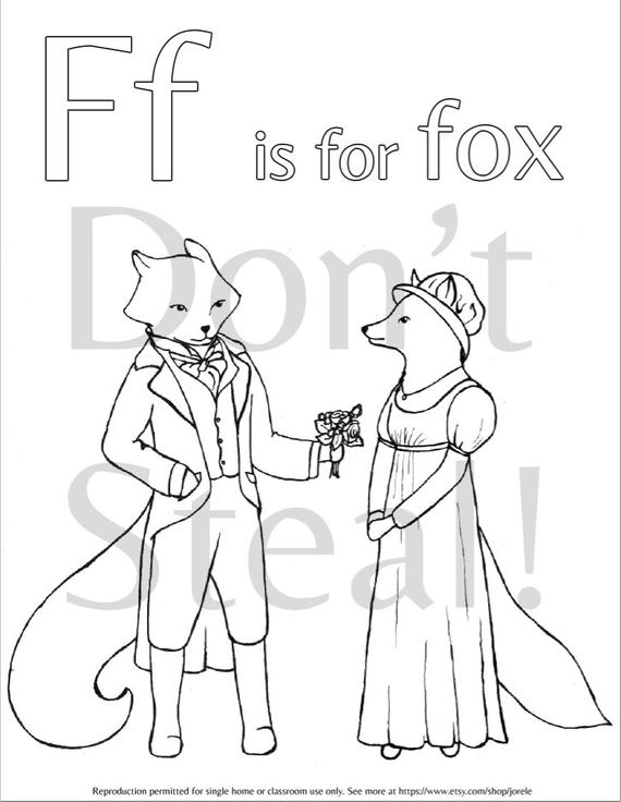 f is for fox coloring page items similar to pride and prejudice f is for fox coloring is for fox page f coloring