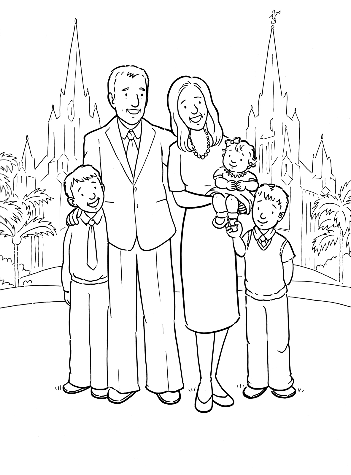 family clipart coloring family of five standing together clipart coloring family