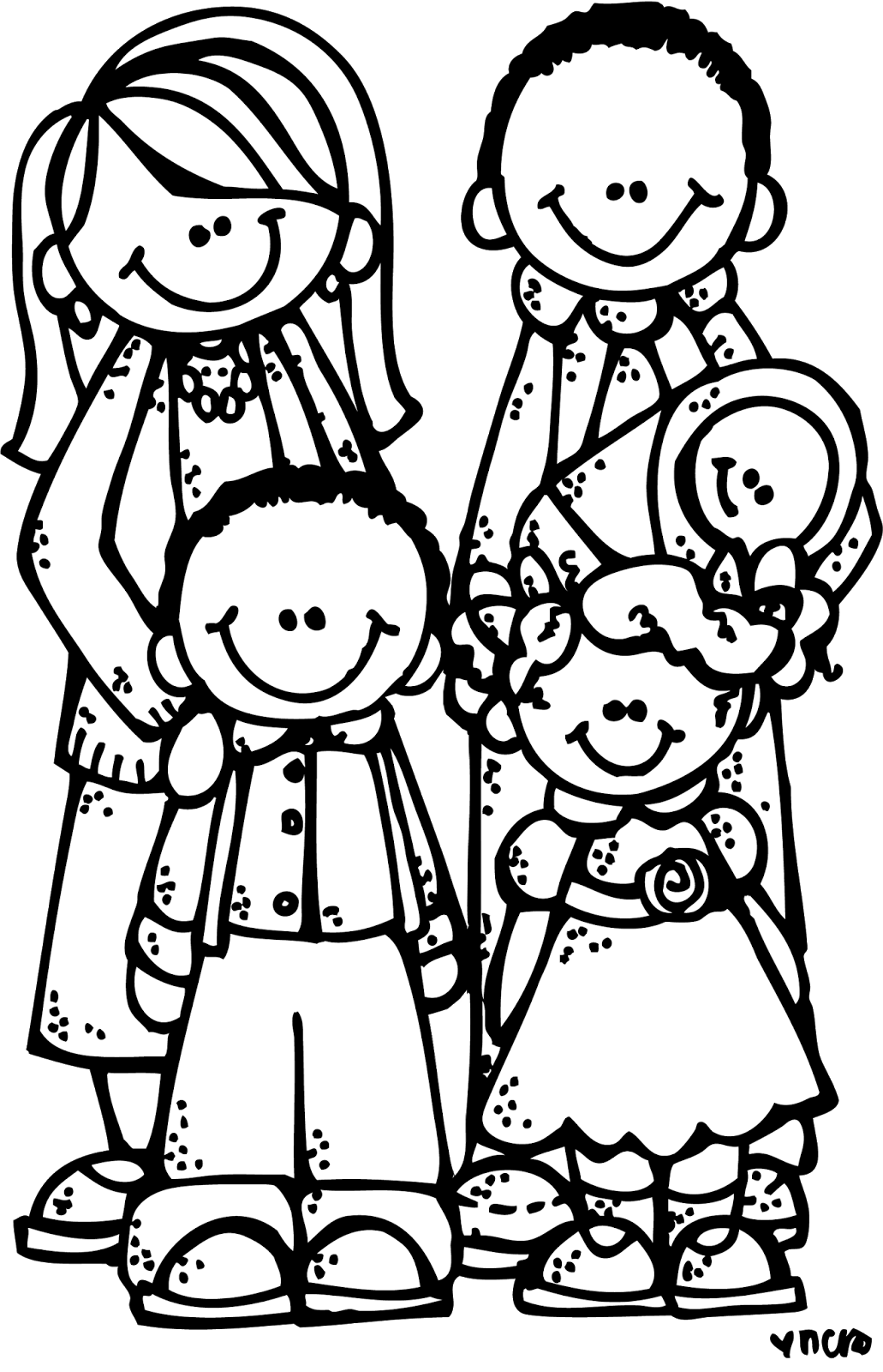 family clipart coloring familyacmelonheadz13bwpng 10311600 pixels family coloring clipart