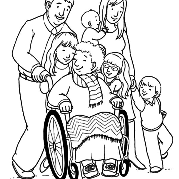 family clipart coloring grandmother and her big family coloring pages color luna coloring clipart family