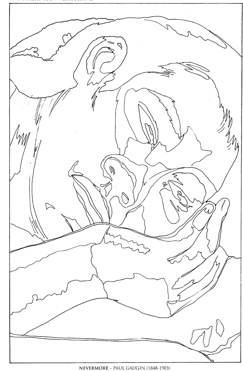 famous artists coloring pages nevermorepaul gaugin famous paintings coloring pages pages artists famous coloring