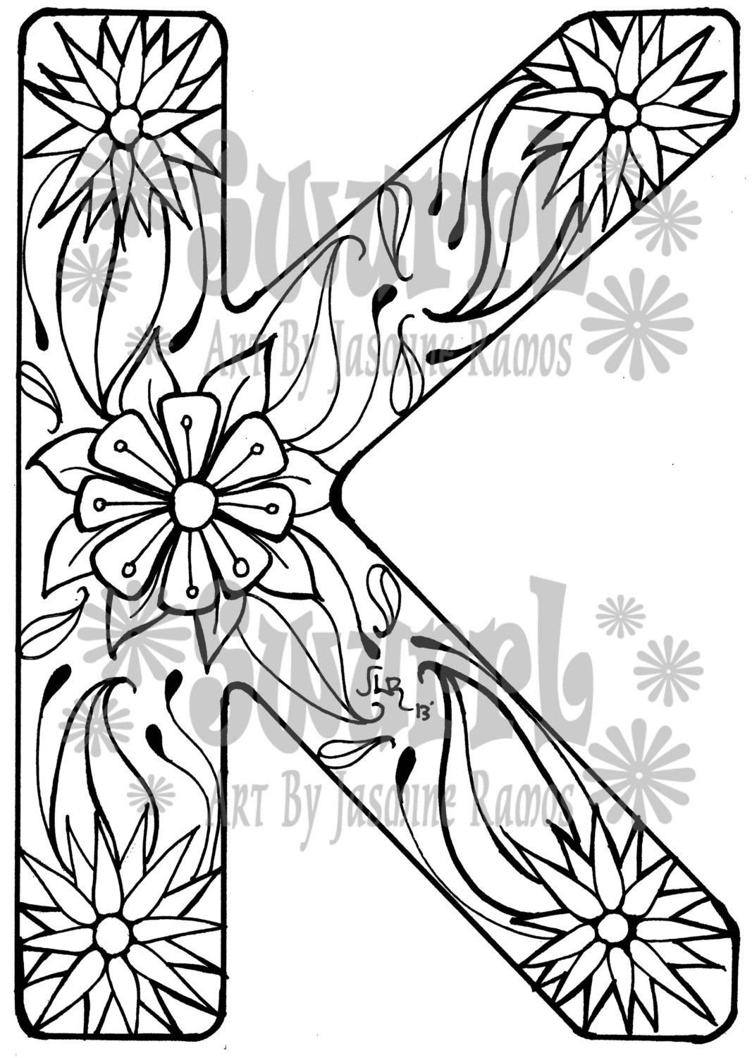 Fancy k coloring pages