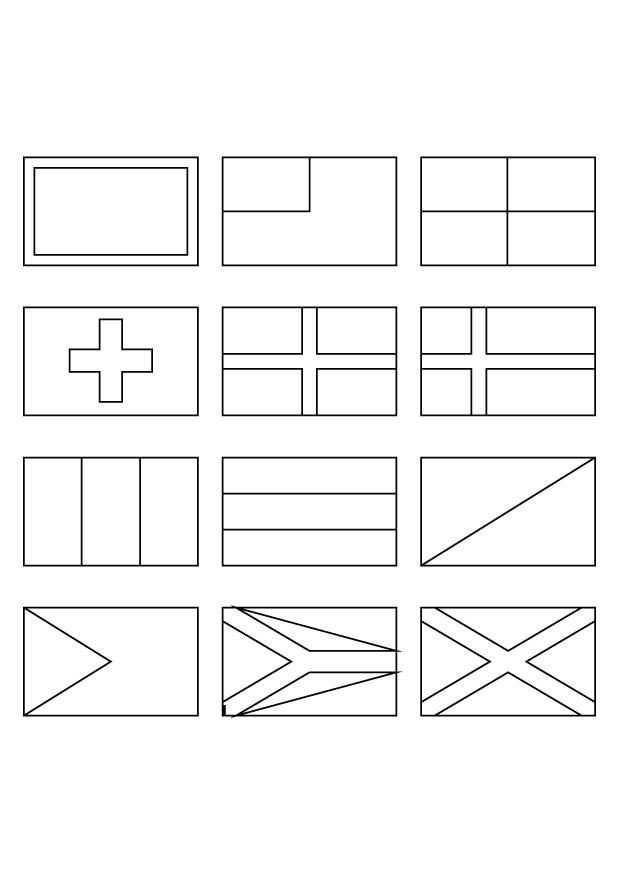 Flags of the world to colour and print