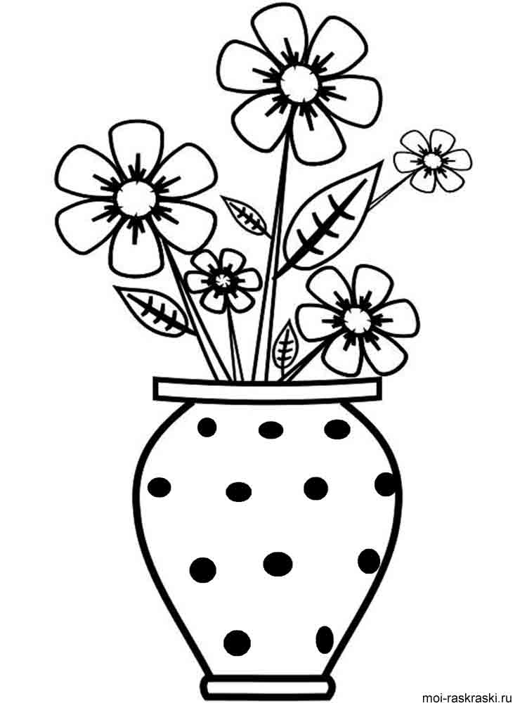 Flower vase pictures to color