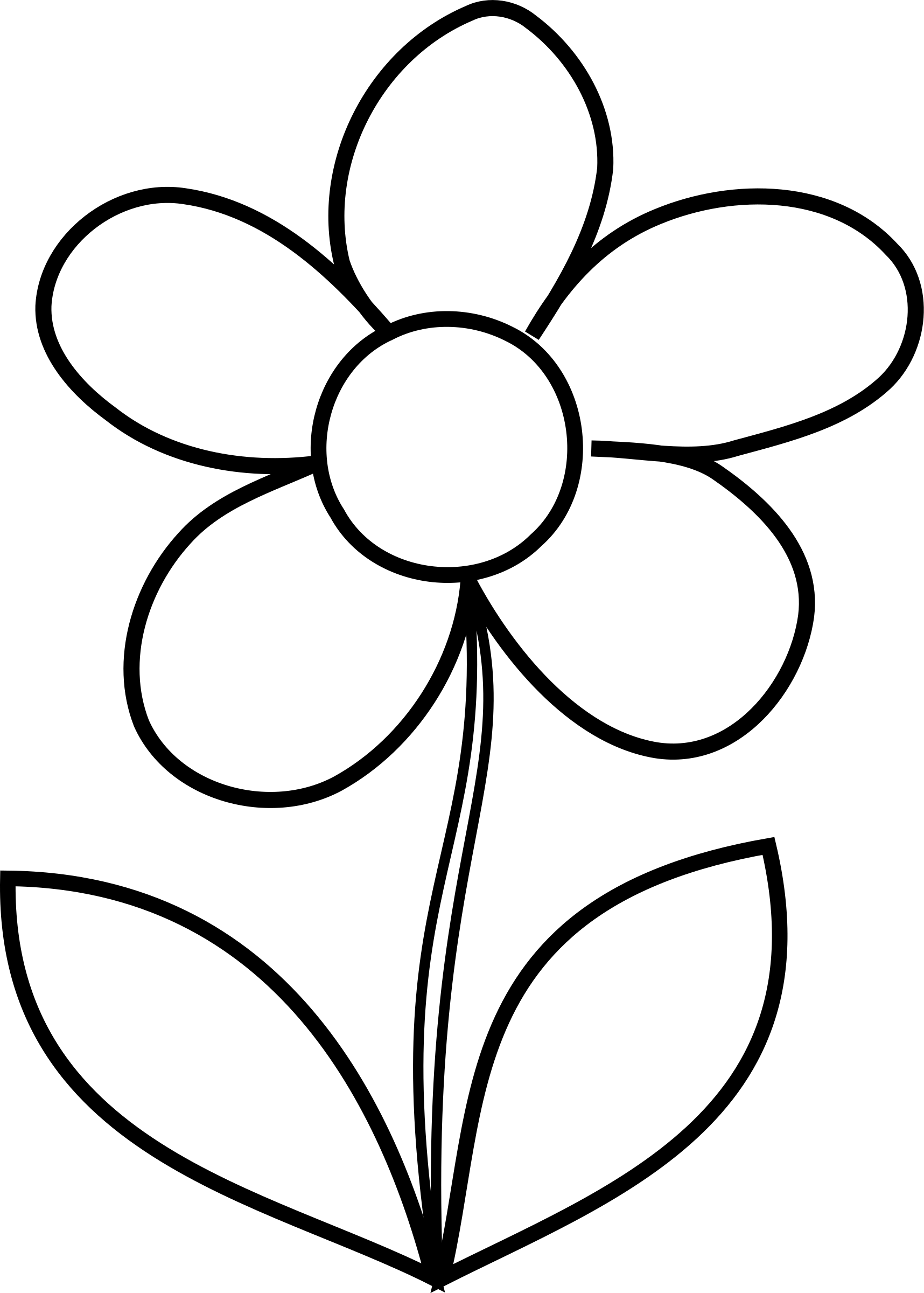 flowers outlines for colouring clipart  simple flower bw flowers for outlines colouring