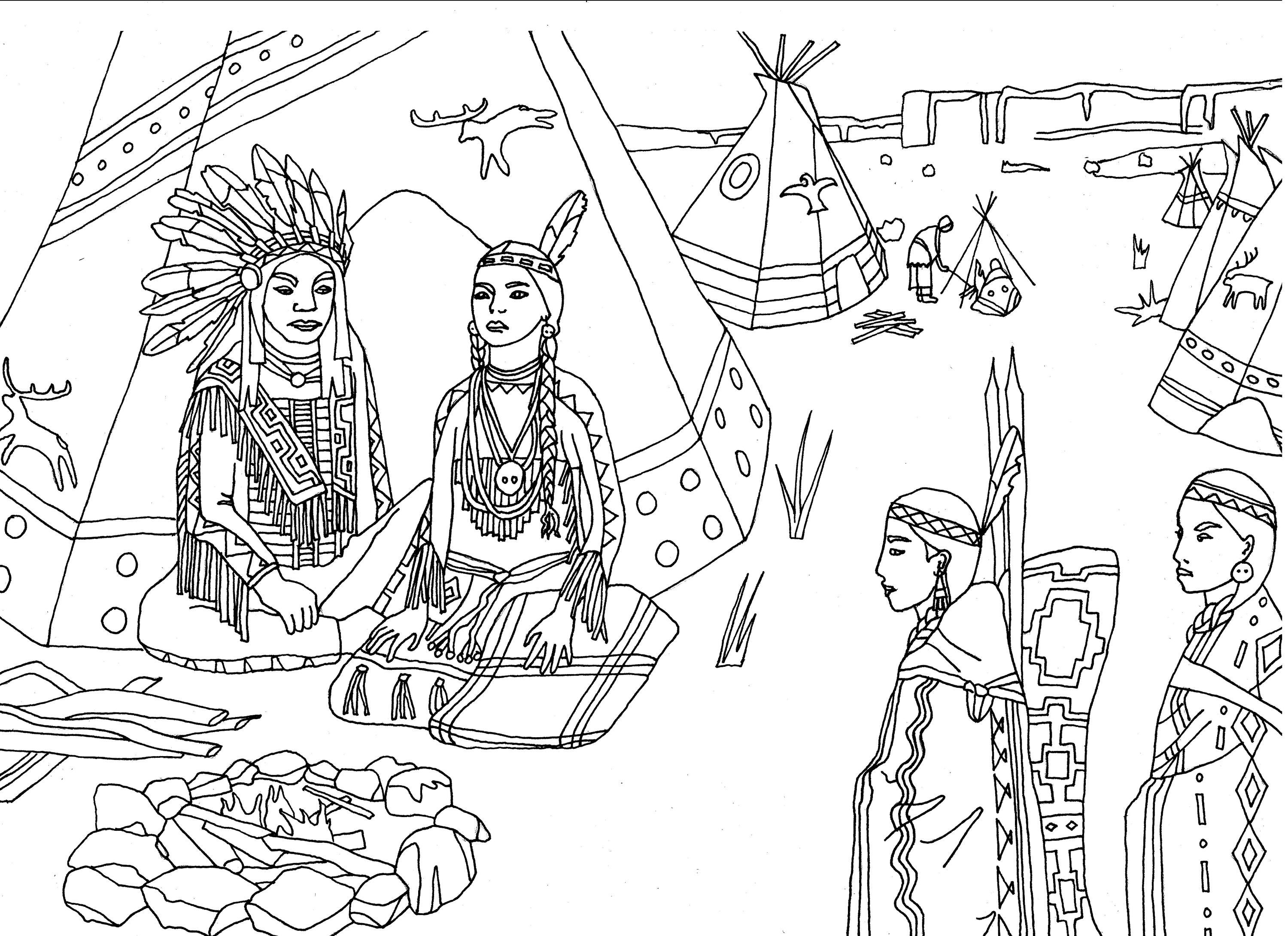 Free native american indian coloring pages