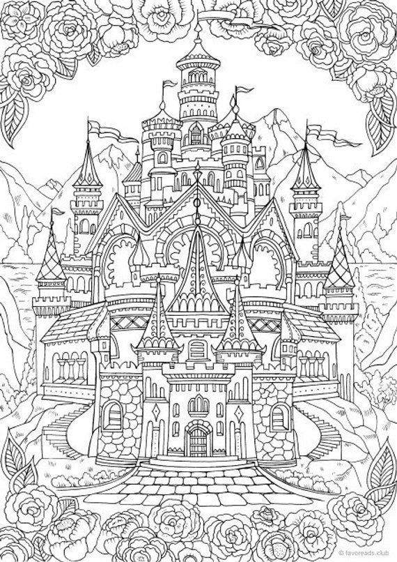 free printable coloring pages for adults and kids castle printable adult coloring page from favoreads coloring for free adults printable kids and pages