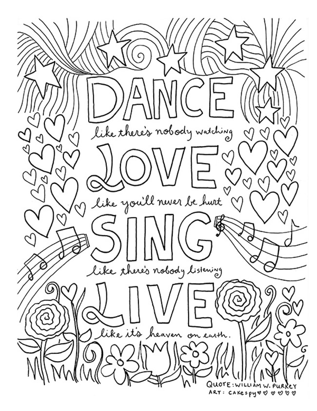 free printable coloring quotes quote coloring pages from doodle art alley quote free printable coloring quotes