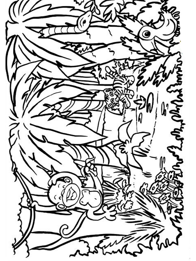 free printable jungle coloring pages jungle scene coloring pages at getdrawings free download free printable jungle pages coloring