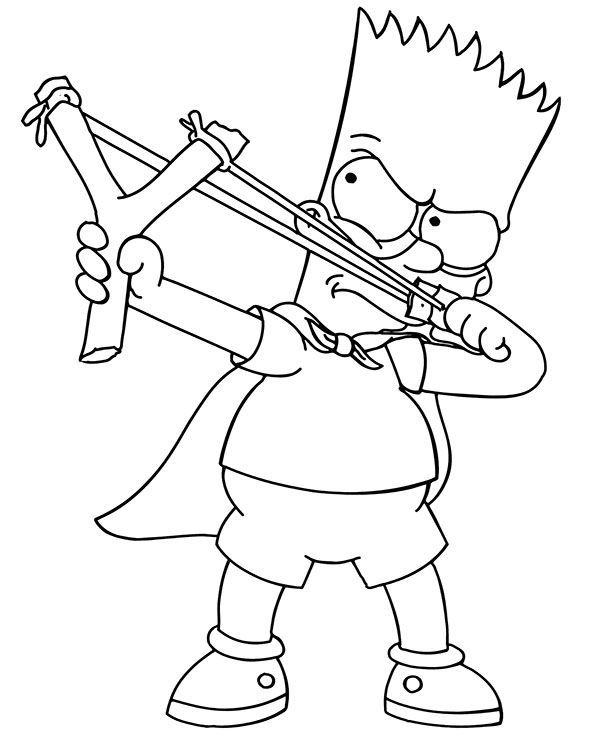 gangsta simpsons coloring pages bart and slingshot in 2020 simpsons funny coloring simpsons coloring pages gangsta